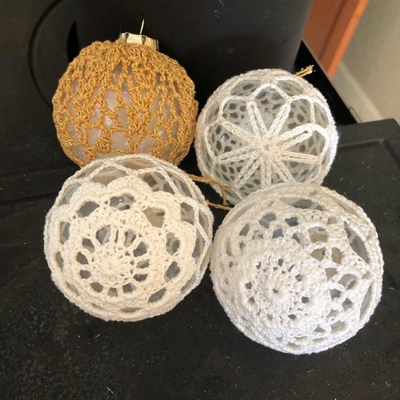 Set of four Crocheted Christmas Bulbs